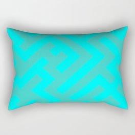 Cyan and Turquoise Diagonal Labyrinth Rectangular Pillow