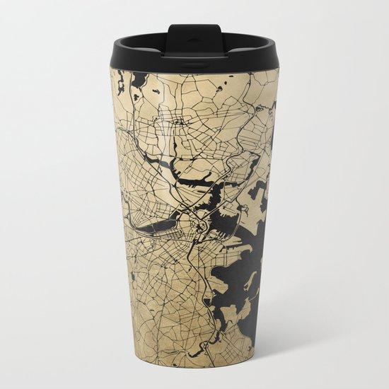 Boston Black and Gold Map Metal Travel Mug