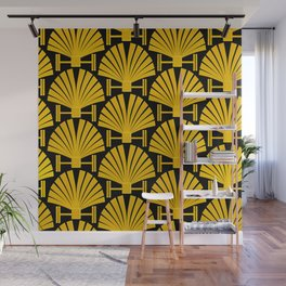 Art Deco Gold Palm Fan Pattern Wall Mural