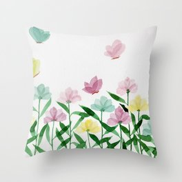 """Simplistic Spring Meadow"" watercolor illustration Throw Pillow"