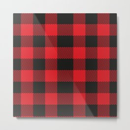 Black And Red Flannel Pattern Metal Print