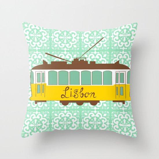Lisbon Tram Throw Pillow