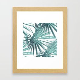 Teal Aqua Tropical Beach Palm Fan Vector Framed Art Print