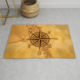 Antique Style Compass Rose Rug