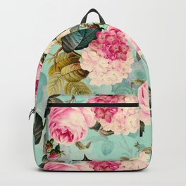 Vintage & Shabby Chic - Summer Teal Roses Flower Garden Backpack