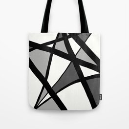 Geometric Line Abstract - Black Gray White Tote Bag