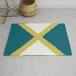 Off White, Dark Yellow and Tropical Dark Teal Inspired by Sherwin Williams 2020 Trending Color Oceanside SW6496 Minimal Solid Color Design 3 Rug