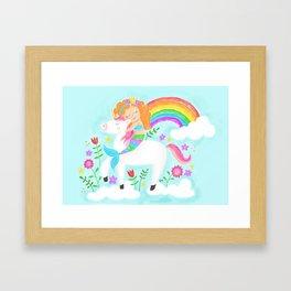 Unicorns, Mermaids & Rainbows...Oh My! Framed Art Print