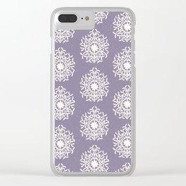 purple regal rosette pattern Clear iPhone Case
