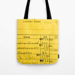 Library Card 23322 Yellow Tote Bag