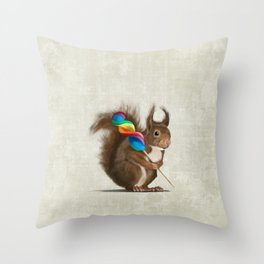 Squirrel with lollipop Throw Pillow