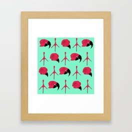 Birdskull pattern Pink & Mint Framed Art Print