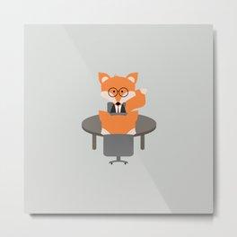 Business Fox Metal Print