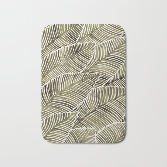 Tropical Leaves – Taupe Palette Bath Mat