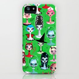 Spooky Dolls on Green iPhone Case