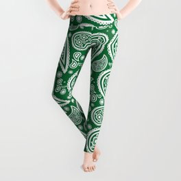 Paisley (White & Olive Pattern) Leggings