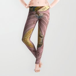 Vintage Map Print - 1660 celestial map illustrating Claudius Ptolemy's model of the Universe Leggings