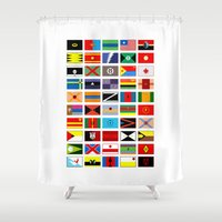 thundercats Shower Curtains featuring SH as flags by Fabian Gonzalez
