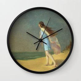 Girl on the Beach; lonely solitary female figure coastal portrait painting by Frank Richards Wall Clock