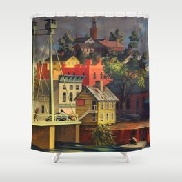 New England Town on the Two Rivers with Bridge landscape painting by Peter Blume Shower Curtain