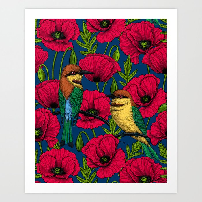 Bee eaters and poppies Art Print