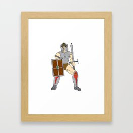 Knight Wielding Sword and Shield Cartoon Framed Art Print