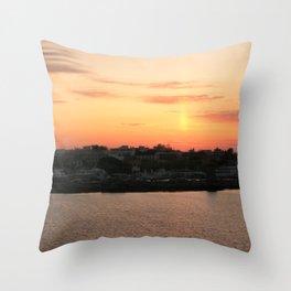 Orange Sunset on the Sea Throw Pillow