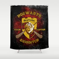 quidditch Shower Curtains featuring Gryffindor lion quidditch team captain iPhone 4 4s 5 5c, ipod, ipad, pillow case, tshirt and mugs by Three Second