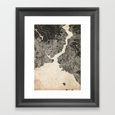 istanbul map ink lines Framed Art Print