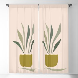 Mid Century Modern - Plant in a Vase Blackout Curtain