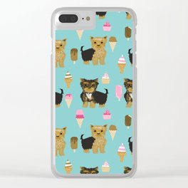 Yorkie ice cream gifts yorkshire terrier dog lover pet friendly patterns minty Clear iPhone Case