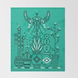 Santa Fe Garden – Turquoise & Black Throw Blanket