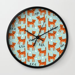 Angry but cute bengal cat pattern Wall Clock