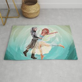 Dancing fairy and elf with background Rug