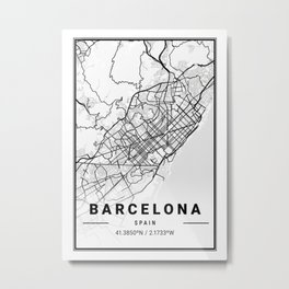 Barcelona Light City Map Metal Print