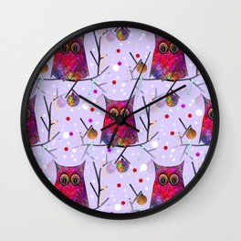 Owl Pattern Wall Clock
