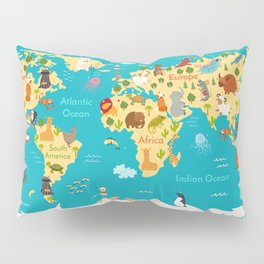 Animals world map. Vector illustration, preschool,  baby, continents, oceans, drawn, Earth. Pillow Sham