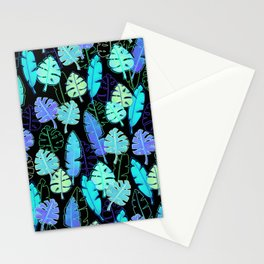 tropic leaves pattern (monstera and the bird of paradise) Stationery Cards