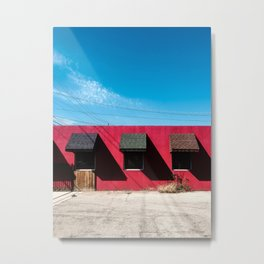 Red Building with Shadows Metal Print