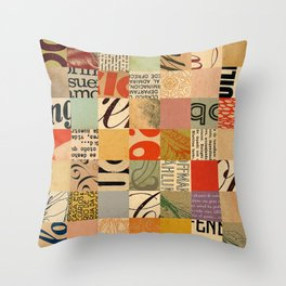 Vintage Abstract Grid Collage Throw Pillow