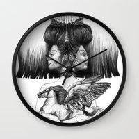 gemini Wall Clocks featuring Gemini by Deborah Panesar Illustration