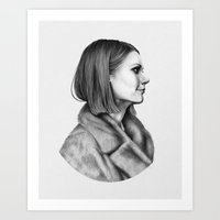 tenenbaum Art Prints featuring Margot Tenenbaum by Alex Rombough
