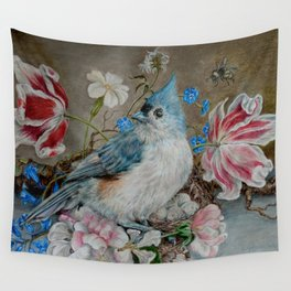 Blue Titmouse and Bee with floral still life Wall Tapestry