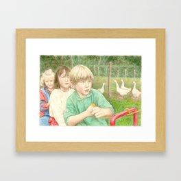 Playtime, coloured pencil Framed Art Print