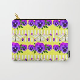 YELLOW-WHITE BUTTERFLIES PURPLE PANSY PATTERNS Carry-All Pouch