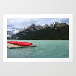 Lake Louise Red Canoes Art Print