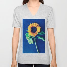 A decorative sunflower on the blue background Unisex V-Neck