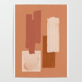 Burnt Orange Art, Terracotta Abstract Shapes Poster