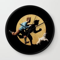 tintin Wall Clocks featuring tin tin advanture by aleha