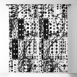 analog synthesizer system - modular black and white Blackout Curtain